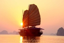 """Halong Bay Sunset / Halong Bay recently listed as one of the Asia's top five tropical island pradises where have the most beautiful sunsets that visitors should not miss! """"Halong Bay in northwestern Vietnam is one of the most stunning destinations that visitors can travel by boat to watch sea, take kayak, better than anywhere else in the world"""", says McDonald - editor, and founder of the Asian travel site travelfish - on CNN"""