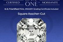 Moissanite Collection / Charles & Colvard® Forever One™ certified moissanite is available in various popular stone shapes and sizes. Moissanite is D, E, or F certified and comes with a PGGL-IMAGEM grading certificate. (Certain sizes are available not certified.)