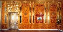 St. Petersburg. Amber room. Catherine Palace / The Catherine Palace. Tsarskoe Selo. Saint-Petersburg. Russia. The Amber room