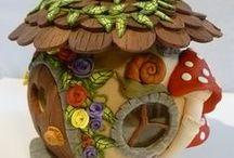 Casitas / para trabajar en porcelana fría/porcelanicron, sobre tejas, botellas, madera. Sígueme por favor.(Follow me please)
