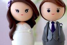 -♥Recordatorios de Boda / Novios / enamorados♥- / en porcelana fría/porcelanicron Sígueme por favor.(Follow me please)