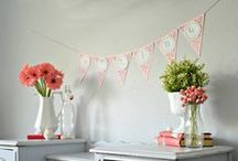 SPRING DIY & DECOR / Spring mantels, garlands, old window decor, flower boxes, dresser decor, handmade flowers, rustic farmhouse style, beach cottage style, aqua blue, white, yellow, stripes, burlap garland