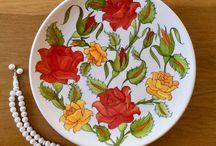 Kendi çini çalışmalarım / My own tile and ceramic painting works