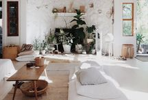 home, etc. / A mix of interiors with clean white walls + moody lighting + modern design + rustic charm + southwestern feels + mid century charm + bohemian decor.