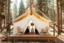 Cabin / rustic exteriors + charming interiors to inspire us in the building of a future guest cabin.