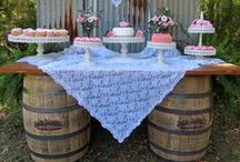 Rusty Tin and Whiskey Barrel  Dessert Table for Rustic Chic Weddings. / Rusty Tin and Whiskey Barrel  Dessert Table for Rustic Chic Weddings.  Rentals by Its Personal Wedding Staging and Design, Milton, FL