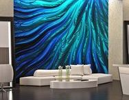 "Water Wall Mural / Patty Madden Digital Wallcovering product is artwork for your walls. Patty's unique design is printed on proprietary textured mylar grounds. The combination of matte ink on metallic is pure magic that will illumine your interior design space. The subtle glimmer of the mylar creates a 3D ""fluid"" effect. Luxe Surface has matched Aqualibra's Pantone colors K, 294 C, 2727 C & 3242 C with coordinating wallcovering patterns to make your job easier. Helpful ideas make great design even better!"