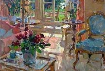 Art to Inspire :: Interiors / Paintings of interiors with or without people in the compositions that inspire me to explore this artform