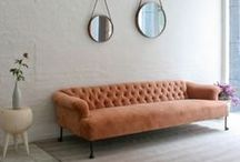Interiors - velvet sofas / I dream to own a velvet sofa - to lounge around on at home - drinking champagne and eating truffles!