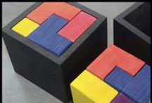 Puzzles de madera / Puzzles de madera ecológica completamente artesanales pintados con punturas no tóxicas