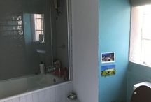 Lucy's bathroom / Tile colour match on bath panel, window surround, boxing and skirting