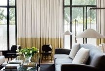 Decor :  Drapes / Window treatments / Cover your windows...add color or texture...do something! Mini blinds can be sooooooooo boring! / by Tamara Hopkins
