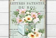 """FrenchPaperMoon / """"Where love for the past comes alive in the present"""" #shabby #french #victorian #floral #digital #roses #pretty #digital #printable #crafts #pillow #images #frenchpapermoon"""
