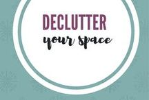 Declutter Your Space / Tips to declutter your space.  Eliminate things from your home that no longer make you happy.  Use checklists, courses, books, and challenges to declutter your space. Simple living and minimalism. #decluttering #simpleliving #minimalism