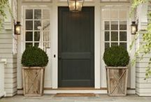 Awe Inspiring Exteriors / It's the first thing your guests see: the front of your home. Make sure it represents you and your individual style! Here are some ideas from colored doors to seasonal wreathes, potted plants and porch swings!