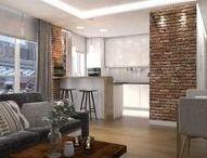 """mieszkanie na Ochocie """"cegła"""" / projekt mieszkania, salon z aneksem kuchennym, ciepłe wnętrze z cegłą rozbiórkową"""