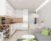 """mieszkanie na Bemowie """"zielony i niebieski"""" / projekt mieszkania - salon z aneksem kuchennym, sypialnia, przedpokój, łazienka"""