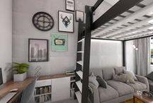 pokój nastolatka z antresolą / pokój nastolatka z łóżkiem na antresoli