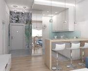 """mieszkanie na Ochocie """"niebieskie kwiaty' / projekt mieszkania - salon z aneksem kuchennym i sypialnia. Kolorystyka w odcieniach niebieskiego"""