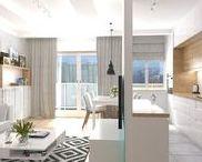 """dwa pokoje na Bemowie """"ombre"""" / projekt salonu z aneksem kuchennym"""