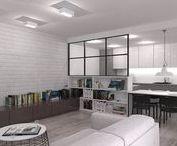 mieszkanie na Woli / projekt mieszkania - salon z aneksem kuchennym i łazienka - inspirowane stylem industrialnym