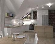 """poddasze w domu jednorodzinnym """"cegła"""" / projekt poddasza w domu jednorodzinnym - salon i kuchnia, inspirowany stylem rustyklanym"""