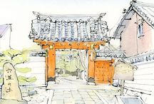 風と雲  Watercolor Sketchese Japan Kyoto Wind and Clouds