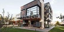 Parallel House/Архитектурное Бюро Романа Леонидова / проект современного дома с большими окнами и плоской крышей, contemporary architecture, modern house