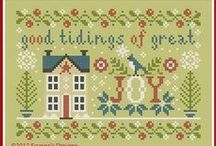 cross stitch: little cottages