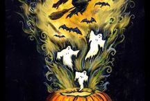 Halloween watercolors & paintings by Iva Wilcox / I love painting Halloween images in watercolor! I usually sell them on etsy, eBay and at area folk art shows.