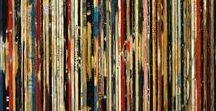"""DIDIER DELGADO """"Bandes son"""" / collection d albums vinyles remixée en peinture : """"la tranches musique"""""""