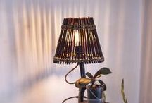 "SOLD Rustic Handmade Wooden Lamp ""Black & White"" / www.nature is the artist.webgarden.ro"