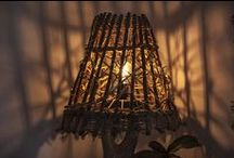"Rustic Handmade Wooden Floor Lamp ""Three flowers"" / www.natureistheartist.webgarden.ro"