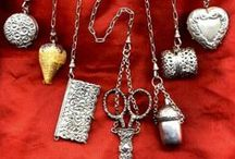 Chatelaine / A chatelaine is a decorative belt hook or clasp worn at the waist with a series of chains suspended from it. Each chain is mounted with a useful household appendage such as scissors, thimble, watch, key, vinaigrette, household seal, etc. / by Jean Tarbell Cotton