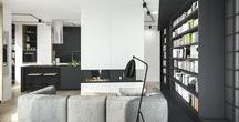 MASARSKA APARTMENT / Corner #apartment by Masarska street in #Cracow. Apartment contains #living room, #dinig room, #kitchen, two #bedroom, #bathroom, #toilet and #laundry... all in #modern, friendly climate, with #wood #ceiling and #floor. The rest is kept in #black and #white #colours.