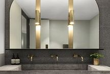 Metallic//Bathrooms / A hint of metallic in a bathroom elevates a functional space.