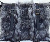 Real fox fur bags, handbags, shoulder bags, backpacks - silver fox, beaver, leather / Fox fur bags