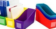 BINS / These storage bins are the ultimate companion for your bookshelf or cubby. The easy to grip handles are perfectly sized for big and small hands. They are made of impact resistant plastic and come in wonderfully bright colors. Use them to organize your room and store all your supplies.