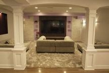 Basements / Finished basement ideas and remodels to truly enhance lower level spaces.  Includes media centers, game rooms, fitness centers, bars, and general entertaining.