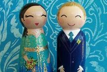 Indian Wedding / Custom Wedding Cake Toppers & Peg Doll Portraits by handpaintedloveboxes.etsy.com / by Tiffany Mouritsen