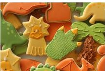 Dinosaur Cookies / A collection of decorated dinosaur cookies.