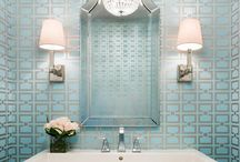 Bathrooms / Bathrooms, marble tiles, vanities, mosaics, marble, taps, mirrors, subway tiles, lighting, sconces