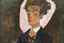 Art of Egon Schiele (1890-1918) Austrian / Egon Schiele was an Austrian painter. A protégé of Gustav Klimt, Schiele was a major figurative painter of the early 20th century. His work is noted for its intensity and its raw sexuality, and the many self-portraits the artist produced, including naked self-portraits. The twisted body shapes and the expressive line that characterize Schiele's paintings and drawings mark the artist as an early exponent of Expressionism.
