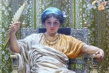 Art of Albert Joseph Moore (1841-1893) / Albert Joseph Moore was an English painter, known for his depictions of languorous female figures set against the luxury and decadence of the classical world.