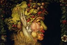 Art of Giuseppe Arcimboldo (1526-1593) Italian / Giuseppe Arcimboldo was an Italian painter best known for creating imaginative portrait heads made entirely of objects such as fruits, vegetables, flowers, fish, and books.