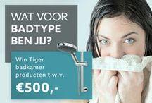 """Pin & win jouw ideale badkamer! / LET OP: Deze actie is inmiddels afgelopen. Tot 26 januari 2016 kon je meedoen aan onze Pinterest Pin & Win actie door je eigen badkamer inspiratiebord te maken met de naam """"Mijn Tiger badkamer"""". De winnaar van de hoofdprijs is bekend. Deze hoofdprijs bedraagt Є5000,- aan Tiger producten en is gewonnen door: Annet Stolk ( https://nl.pinterest.com/annet1234/mijn-tiger-badkamer/ ) Annet, van harte gefeliciteerd met je mooie prijs!"""