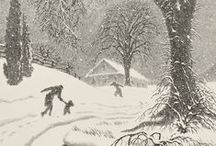 Winter Art & Illustrations / Art and illustration on the theme of winter. Lots of pretty snowy scenes.