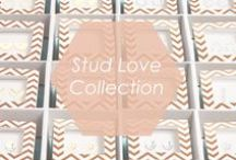 Stud Love Collection / Get noticed with this eye-catching counter display of adorable studs. Each pair of earrings comes in a gold chevron-patterned box ready for gifting@ With 16 adorable options to choose from customers will love selecting their perfect gift.