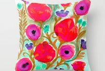 Throw Pillows / Bright multi colored throw pillows / by Crystal Walen Artist