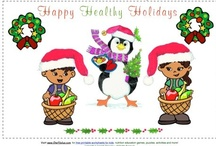 Christmas printables / Free printable coloring sheets and full color version activity worksheets, holiday cards, and gift of time certificates for kids to decorate and customize.  Holiday time is a great time for kids to learn about nutrition, healthy eating and making healthy choices in a fun way.  / by Nourish Interactive